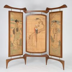 Frank Kyle Frank Kyle Three Panel Screen in Walnut and Bronze Circa 1950s - 482580
