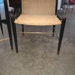 Frank Kyle Pair of Mexican Modernist Rosewood Brass and Wicker Lounge Chairs - 317918