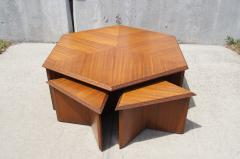 Frank Lloyd Wright Hexagonal Coffee Table Set by Frank Lloyd