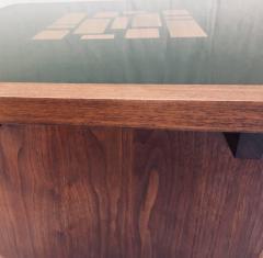 Frank Rohloff Pair of Frank Rohloff Walnut and Black Resin Mosaic End Tables California Studio - 675364