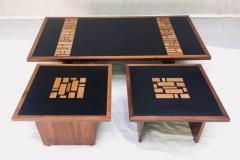 Frank Rohloff Pair of Frank Rohloff Walnut and Black Resin Mosaic End Tables California Studio - 675369