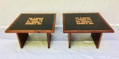 Frank Rohloff Pair of Frank Rohloff Walnut and Black Resin Mosaic End Tables California Studio - 784485