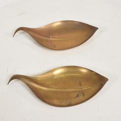 Franz Hagenauer Mid Century Modern Brass Dish Decorative Plates in Brass Leaf Shape - 886870