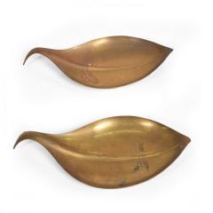 Franz Hagenauer Mid Century Modern Brass Dish Decorative Plates in Brass Leaf Shape - 886871