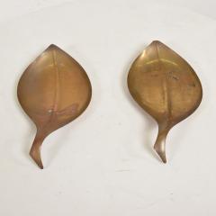 Franz Hagenauer Mid Century Modern Brass Dish Decorative Plates in Brass Leaf Shape - 886872
