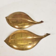 Franz Hagenauer Mid Century Modern Brass Dish Decorative Plates in Brass Leaf Shape - 886874