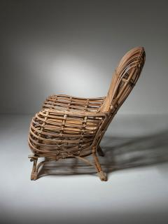 Fratelli Castano Large Wicker Lounge Chair Attributed to Castano - 1408726