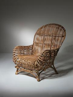 Fratelli Castano Large Wicker Lounge Chair Attributed to Castano - 1408728