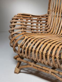 Fratelli Castano Large Wicker Lounge Chair Attributed to Castano - 1408731