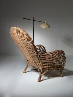 Fratelli Castano Large Wicker Lounge Chair Attributed to Castano - 1408733