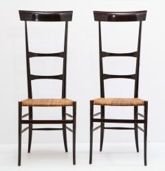 Fratelli Levaggi Rare Pair of Wing Back Chiavarine Super Leggera Chairs Italy 1950s - 1236789