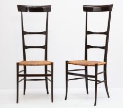 Fratelli Levaggi Rare Pair of Wing Back Chiavarine Super Leggera Chairs Italy 1950s - 1236790