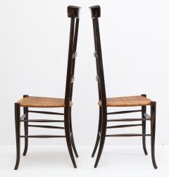 Fratelli Levaggi Rare Pair of Wing Back Chiavarine Super Leggera Chairs Italy 1950s - 1236793
