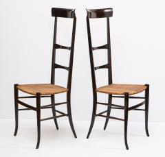 Fratelli Levaggi Rare Pair of Wing Back Chiavarine Super Leggera Chairs Italy 1950s - 1236794