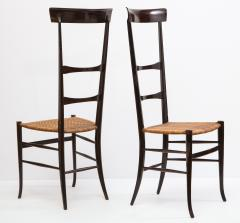 Fratelli Levaggi Rare Pair of Wing Back Chiavarine Super Leggera Chairs Italy 1950s - 1236795