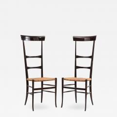Fratelli Levaggi Rare Pair of Wing Back Chiavarine Super Leggera Chairs Italy 1950s - 1237359