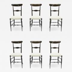 Fratelli Levaggi Rare set of six Campanino Chiavari walnut chairs by Fratelli Levaggi 1950 - 1515052