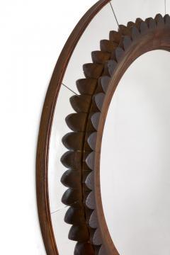 Fratelli Marelli Circular Carved Walnut Wall Mirror by Fratelli Marelli for Framar Italy 1950s - 2066779
