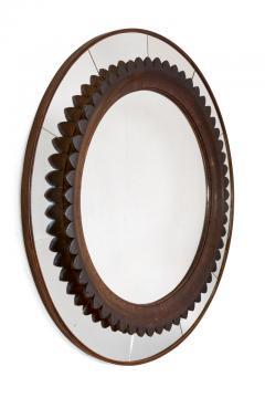 Fratelli Marelli Circular Carved Walnut Wall Mirror by Fratelli Marelli for Framar Italy 1950s - 2066781