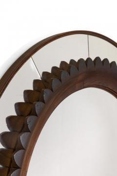 Fratelli Marelli Circular Carved Walnut Wall Mirror by Fratelli Marelli for Framar Italy 1950s - 2066782