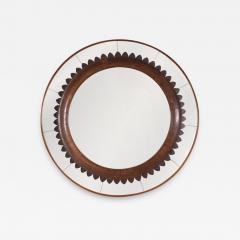 Fratelli Marelli Circular Carved Walnut Wall Mirror by Fratelli Marelli for Framar Italy 1950s - 2068858