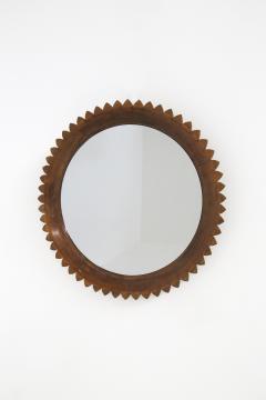 Fratelli Marelli Circular Walnut Wall Mirror by Fratelli Marelli Italy 1950s - 1528584