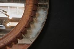Fratelli Marelli Circular Walnut Wall Mirror by Fratelli Marelli Italy circa 1950s - 514559