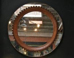 Fratelli Marelli Circular Walnut Wall Mirror by Fratelli Marelli Italy circa 1950s - 514560