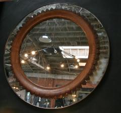 Fratelli Marelli Circular Walnut Wall Mirror by Fratelli Marelli Italy circa 1950s - 514561