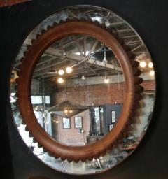 Fratelli Marelli Circular Walnut Wall Mirror by Fratelli Marelli Italy circa 1950s - 514562