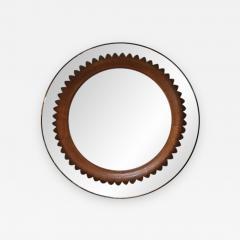Fratelli Marelli Circular Walnut Wall Mirror by Fratelli Marelli Italy circa 1950s - 520992