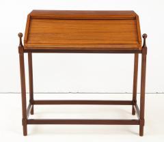 Fratelli Proserpio Compact teak secretary desk with rolltop by Fratelli Proserpio Italy 1960s - 1458760