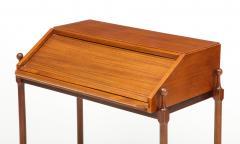 Fratelli Proserpio Compact teak secretary desk with rolltop by Fratelli Proserpio Italy 1960s - 1458761