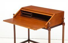 Fratelli Proserpio Compact teak secretary desk with rolltop by Fratelli Proserpio Italy 1960s - 1458762