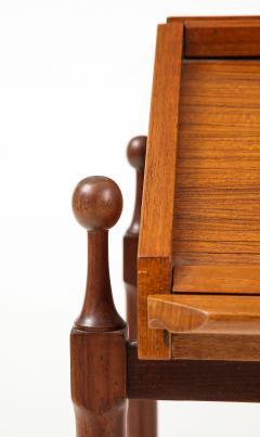 Fratelli Proserpio Compact teak secretary desk with rolltop by Fratelli Proserpio Italy 1960s - 1458767