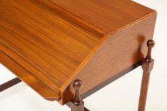 Fratelli Proserpio Compact teak secretary desk with rolltop by Fratelli Proserpio Italy 1960s - 1458769