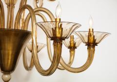 Fratelli Toso A Large Hand Bown Amber Glass Chandelier Attributed to Fratelli Toso - 1629764