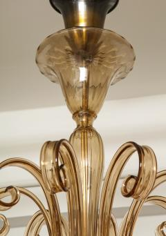 Fratelli Toso A Large Hand Bown Amber Glass Chandelier Attributed to Fratelli Toso - 1629768