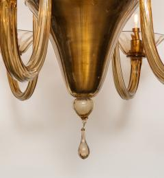 Fratelli Toso A Large Hand Bown Amber Glass Chandelier Attributed to Fratelli Toso - 1629769