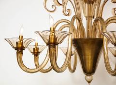 Fratelli Toso A Large Hand Bown Amber Glass Chandelier Attributed to Fratelli Toso - 1629770