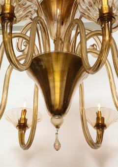 Fratelli Toso A Large Hand Bown Amber Glass Chandelier Attributed to Fratelli Toso - 1629772