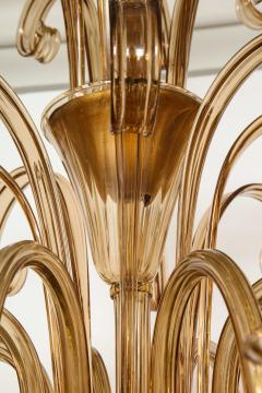 Fratelli Toso A Large Hand Bown Amber Glass Chandelier Attributed to Fratelli Toso - 1629774