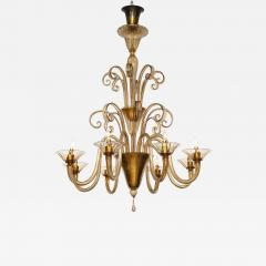 Fratelli Toso A Large Hand Bown Amber Glass Chandelier Attributed to Fratelli Toso - 1637210