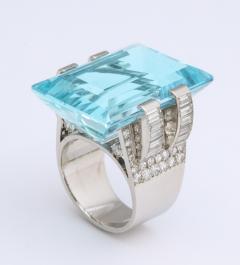 Frech Aquamarine Diamond Ring - 1367861