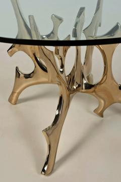 Fred Brouard Aquarius III table base in polished bronze with glass top Fred Brouard  - 2046222