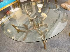 Fred Brouard Aquarius III table base in polished bronze with glass top Fred Brouard  - 2046256