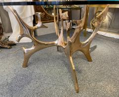 Fred Brouard Aquarius III table base in polished bronze with glass top Fred Brouard  - 2046259