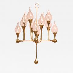 Freddie Anderson West German Brass and Glass Oil Lamp Candelabra by Freddie Andersen - 455410