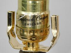 Frederick Cooper Lamp Co Good Quality Frederick Cooper 1960s Octagonal Burlwood and Brass Lamp - 1828446