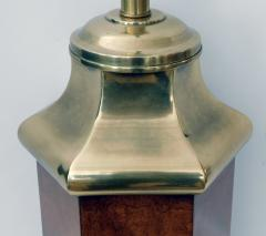 Frederick Cooper Lamp Co Good Quality Frederick Cooper 1960s Octagonal Burlwood and Brass Lamp - 1828449